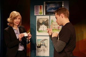 Tara Koehler (Mom) and Edmund Stapleton (Jake). Photos by Barsin Aghajan.