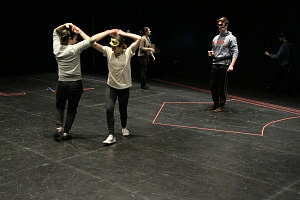 Robert Herr (Romeo), Raylene Turner (Constance), Alex Tomelescu (Mercutio), and Josh Sanger (Tybalt). Photos by David Vivian