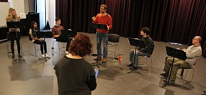 Sean McClelland (Barbara), Michelle Mohammed (Sarah), Adrian Marchesano (Charles), Martin Happer (Cusins), Colin Anthes (Stephen), and Ric Reid (Undershaft). Directed by Lezlie Wade.