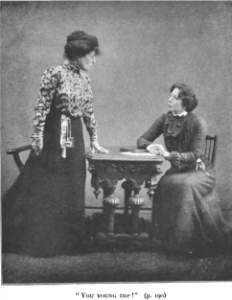 Fanny Brough (left) as the title character and Madge McIntosh as Vivie in the premiere 1902 Lyric Club reading
