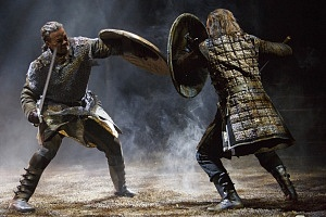 Michael Blake as Macduff (left) and Ian Lake as Macbeth in Macbeth. Photography by David Hou.
