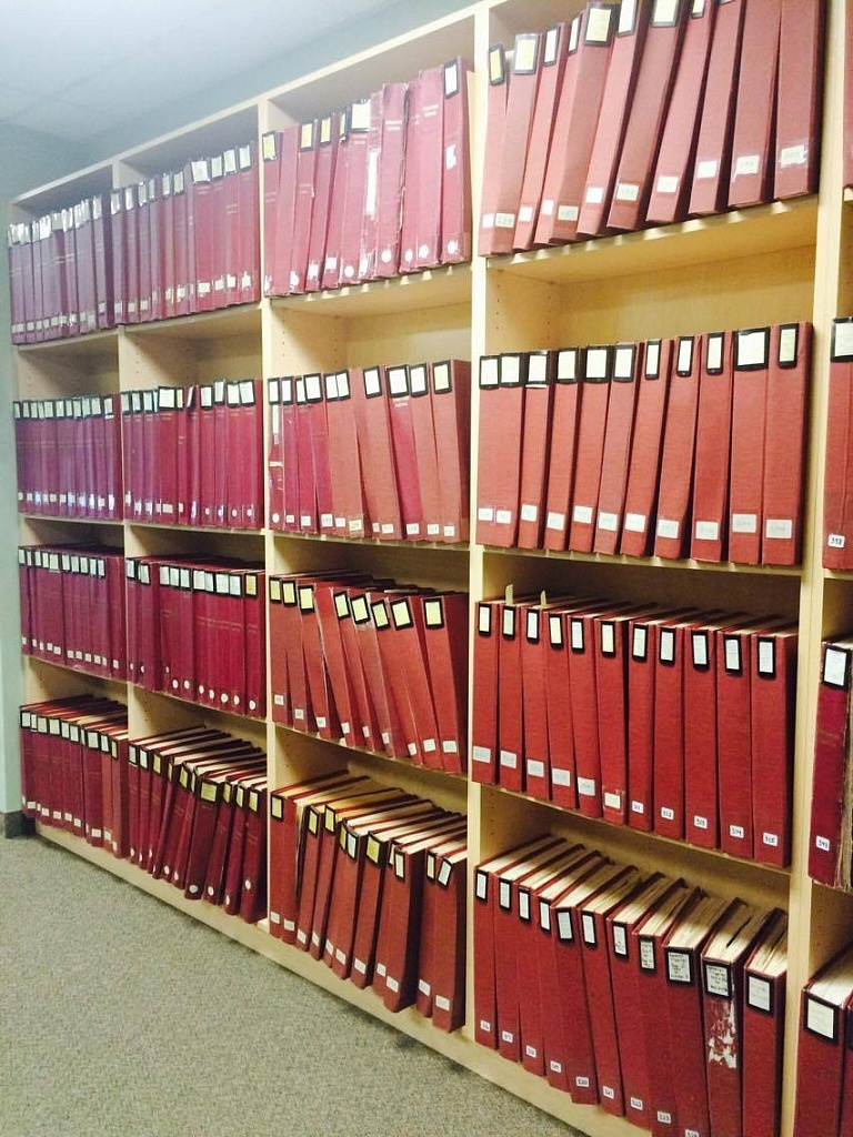 A small sample of the many binders of press clippings and reviews kept in the archives