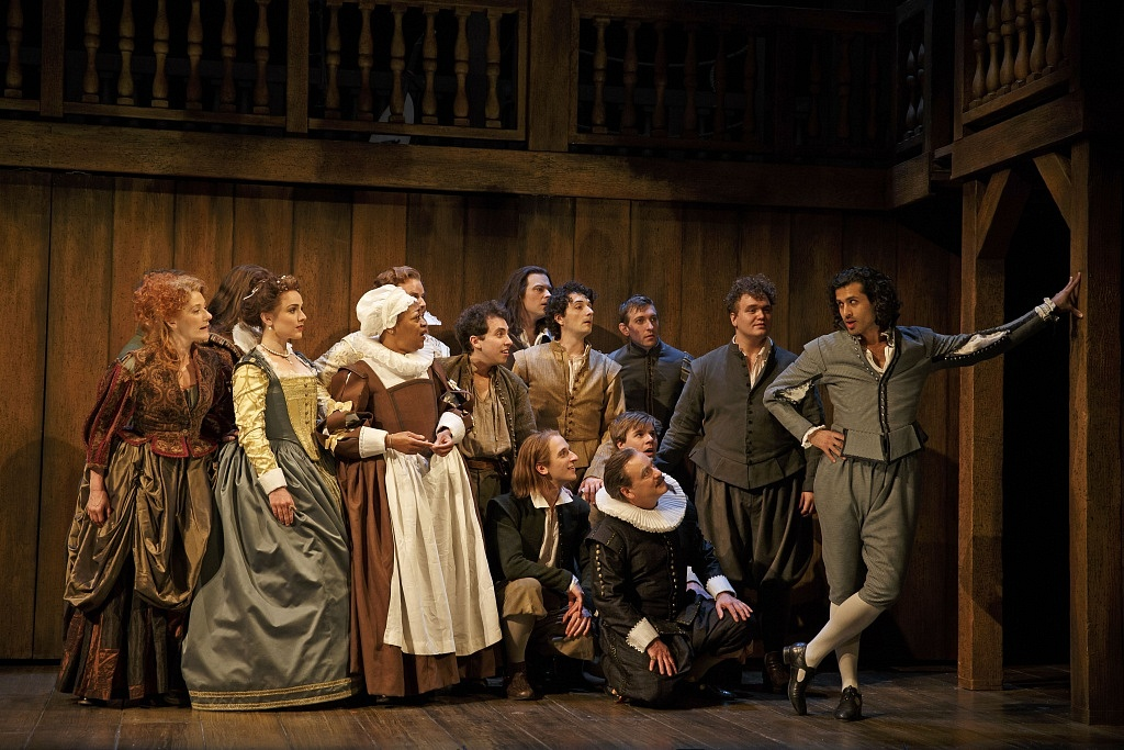 Saamer Usmani (right) as Marlowe, and members of the company in Shakespeare in Love. Photography by David Hou.