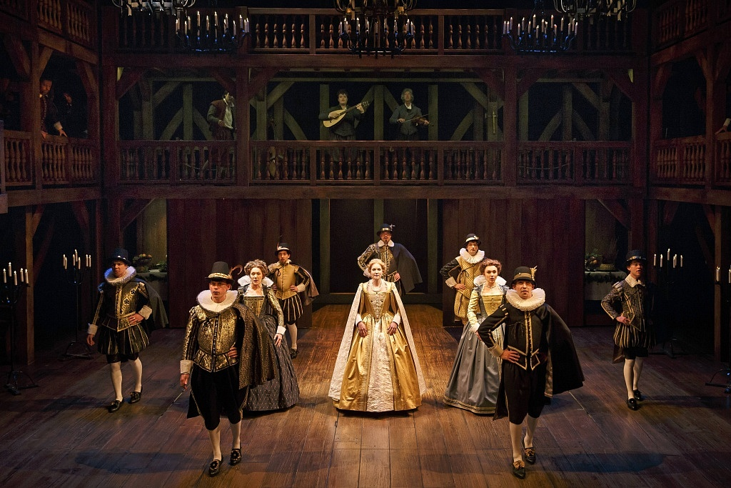 Thomas Mitchell Barnett at far right, and members of the company in Shakespeare in Love. Photography by David Hou.