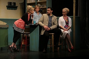 Left to Right: Rita (Sheila McCarthy, Mary Ellen (Helen Taylor), Sean Meritt (Darren Keay), and Vi (Lisa Horner). Photography by The Foster Festival.