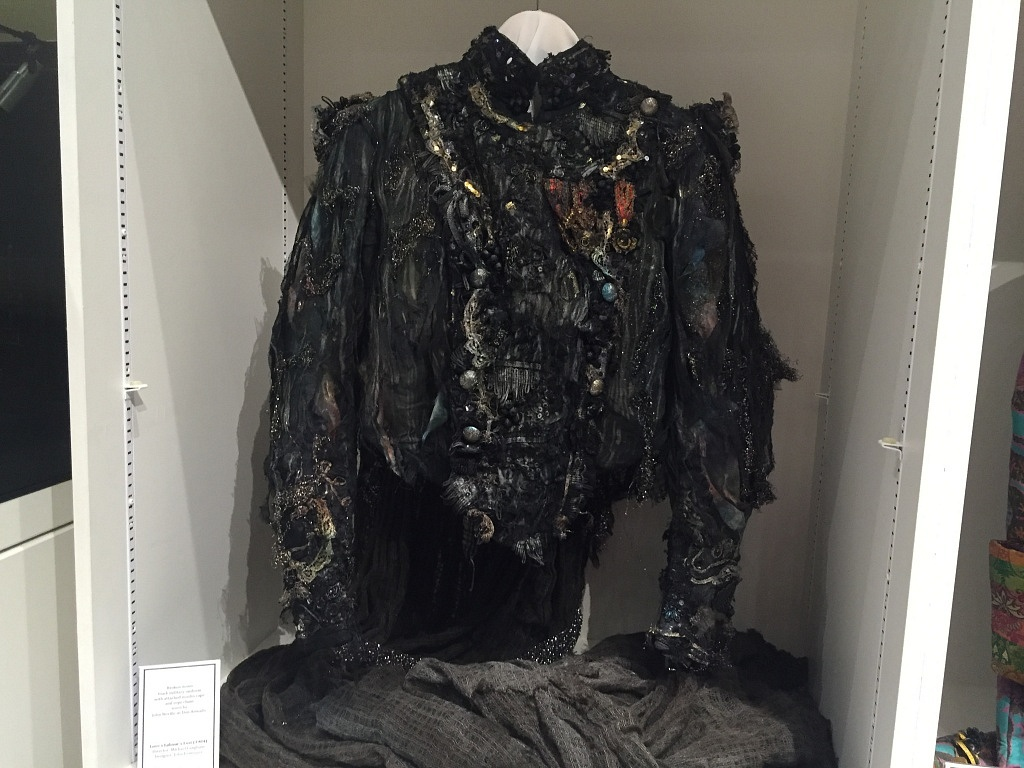 Worn by Don Armado in Love Labour's Lost (1983-84). Liza's favorite piece in this collection. So subtle, black with speckles of paint, but it shimmers when you move. Shows how something dark and subtle can take off. The nature of the idiotic, beautiful soul of the character is physically embodied in the piece.