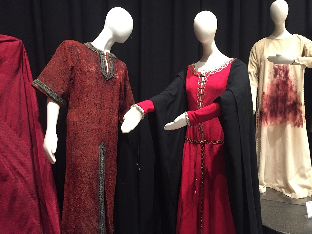 Left: Christopher Plummer's Macbeth costume from 1962. It was a darker, dirtier version of Macbeth. Center: Maggie Smith's Lady M costume from 1978. Right: Roberta Maxwell's Lady M costume from 1983.