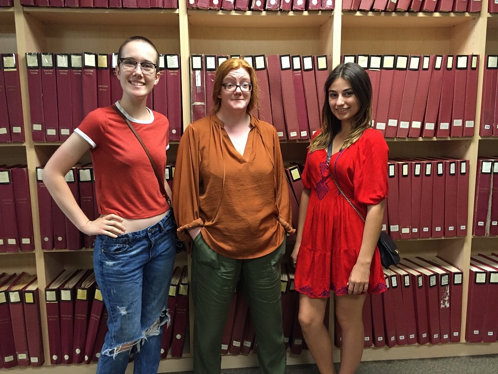 Sarah and Caroline with Liza, the Archive Director.