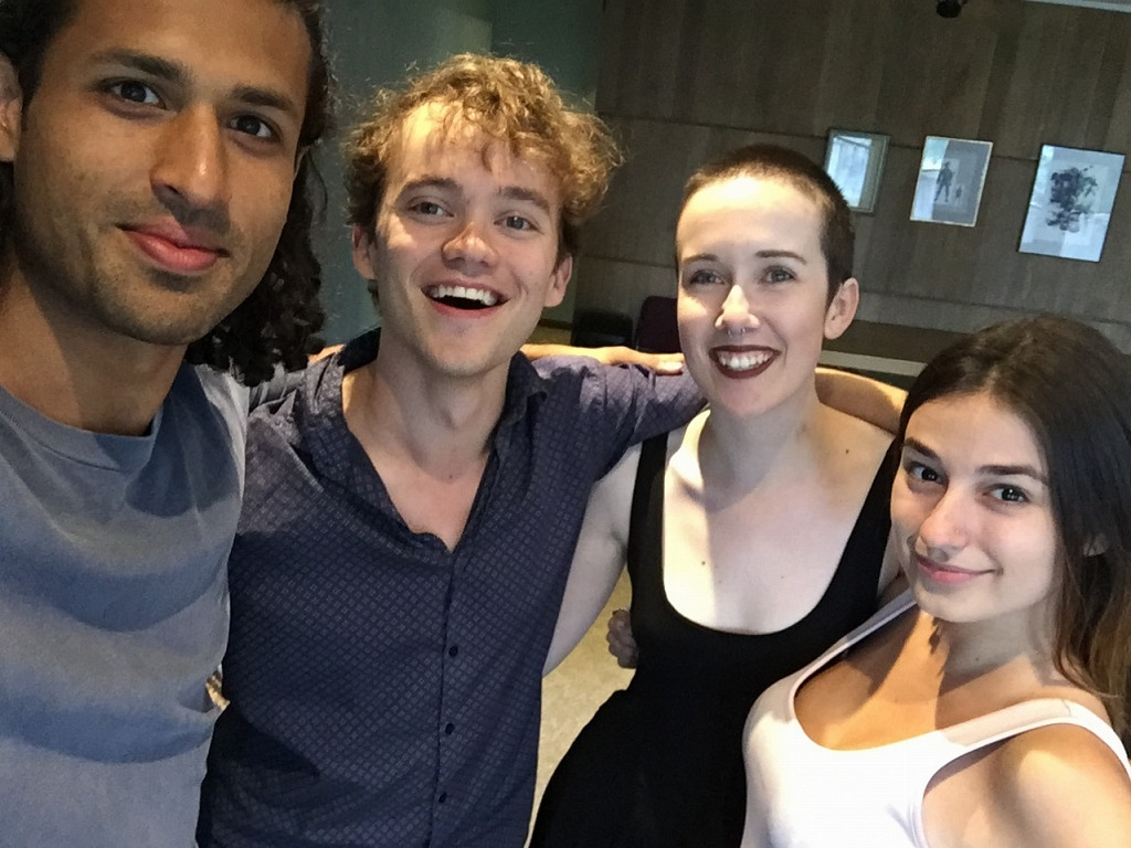 "Saamer and Thomas pose for a ""selfie"" with Sarah and Caroline."
