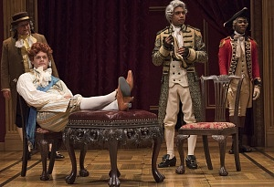 (l to r, front) Martin Happer as Prince of Wales and Andrew Lawrie as Duke of York; (l to r, back) Jim Mezon as Fox and Cameron Grant as Fitzroy in The Madness of George III. Photo by David Cooper.